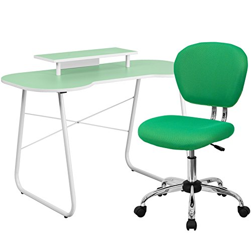 Flash Furniture Computer Desk With Monitor Stand And Mesh Chair, Green