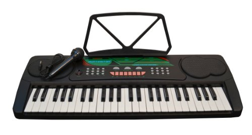 49 Keys Kids Keyboard Beginners Electronic Digital Piano with Free Microphone – Black (Includes eLessons, Free Mini Rubber Guitar & Pick)