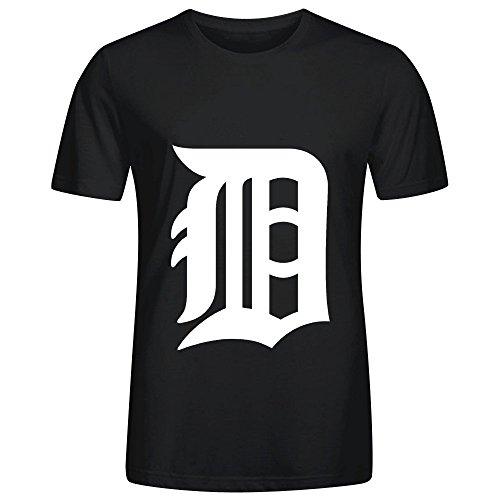 MLB Detroit Tigers Team Logo Crew Neck T Shirts Casual Men Black
