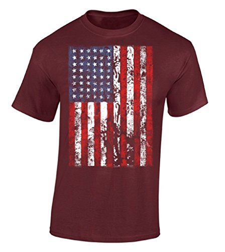 Hpyeed American Flag Distressed T-shirt Independence Day USA Flag Shirt