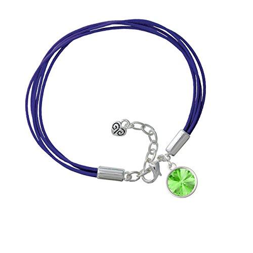 12Mm Crystal Rivoli - Lime Green Purple Leather Aruba Bracelet