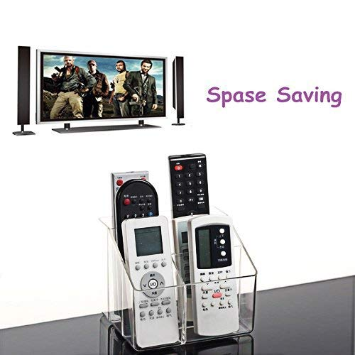 Pasutewel Remote Control Holder, 5 Grids Acrylic Remote Storage Organizer - Tidy & Space Saving Media Storage