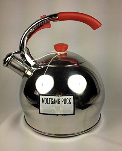 Wolfgang Puck Whistling 3 Quart Tea Kettle Stainless Steel with Red Accents (Wolfgang Puck Cookware 3 Qt compare prices)