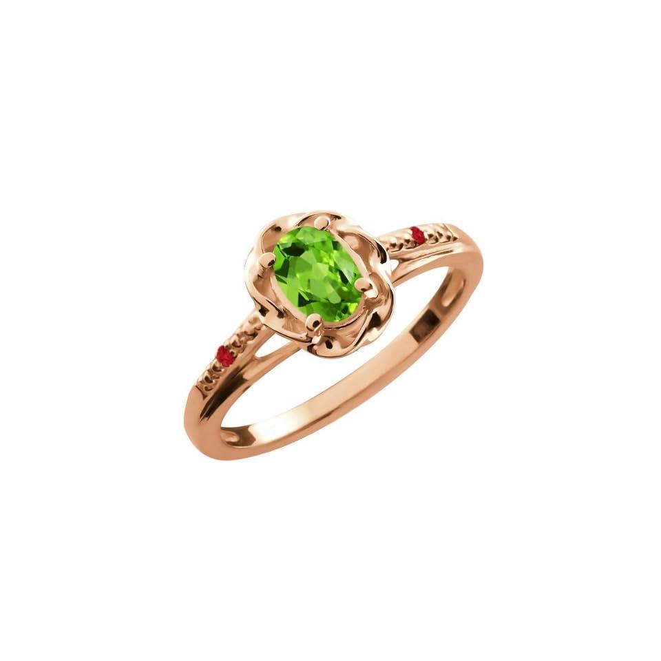 0.52 Ct Oval Green Peridot Red Rhodolite Garnet 18K Rose Gold Ring