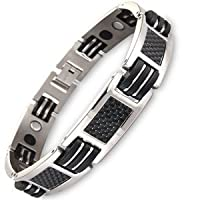 Mens Stylish Titanium And Carbon Fibre Magnetic Bracelet - Gift Boxed Free Link Removal Tool by Willis Judd
