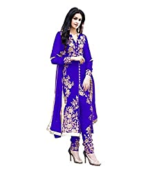 Decent World Blue Georgette Bridal Dress Material