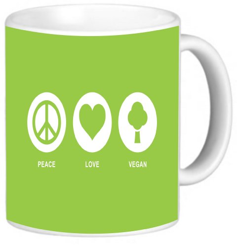 Rikki Knighttm Peace Love Vegan Lime Green Color Design 11 Oz Photo Quality Ceramic Coffee Mug Cup - Fda Approved - Dishwasher And Microwave Safe