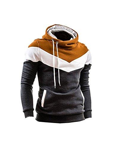 Minetom Uomo Autunno Inverno Contrasto di Colore Con Cappuccio Maglione Moda Slim Fit Felpa Sport Hoodies Scuro Grigio Cachi IT 50