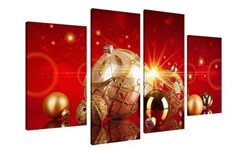 PrettyArt 4Pcs Canvas Print Art Red Gold Merry Christmas Wall Art Christmas Ball Sparkle Wall Decorations Poster Paintings on Canvas Stretched and Framed Ready to Hang for Home Decor