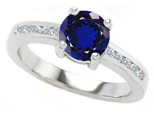 Star K Round 7Mm Created Sapphire Engagement Ring Size 6