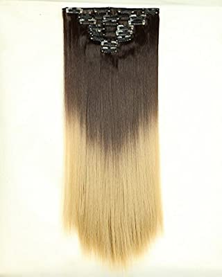 "Deluxe 17""(43cm)/23""(58cm) 8pcs Full Head Clip in Hair Extensions Best Xmas Gifts for Beautiful Lady Long All Colors"