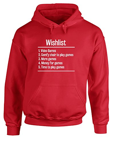 Video Games Wishlist, Printed Hoodie - Red/White 2XL (Wargame Red Dragon Steam compare prices)