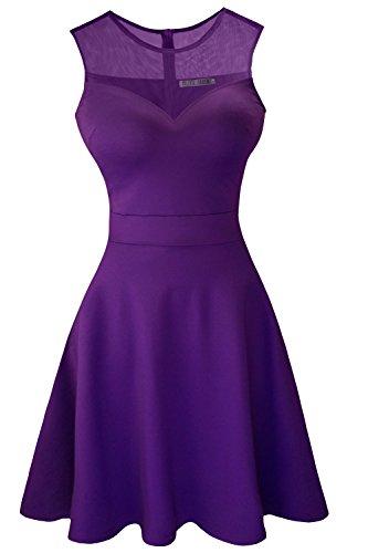 [Heloise Women's A-Line Sleeveless Pleated Little Purple Cocktail Party Dress (S, Purple)] (Sexy Purple Dress)
