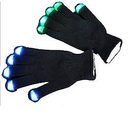 A&S Creavention® RaveGlove 7 Mode LED Rave Light Finger Lighting Flashing Glow Gloves (Black)