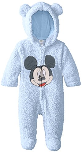 Disney Baby Baby-Boys Newborn Love You Mickey Mouse Hooded Pram, Light Blue, 9 Months front-806190