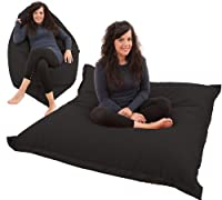 RAVIOLI GIANT - BLACK Bean Bag Chair Indoor / Outdoor Beanbag Floor Cushion by Gilda Ltd