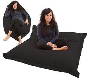 RAVIOLI GIANT - BLACK Bean Bag Chair Indoor / Outdoor Beanbag Floor Cushion by Gilda Ltd