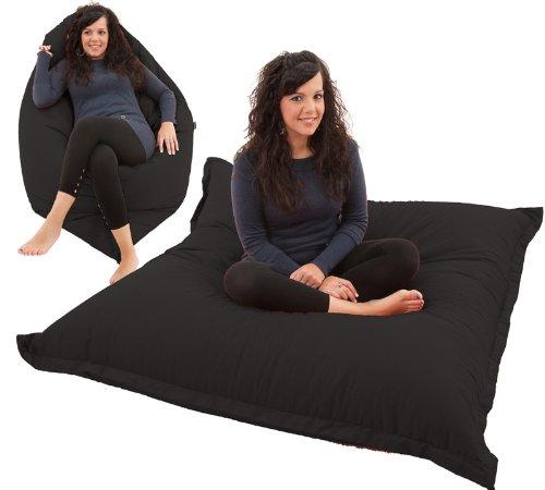 Giant bean bag floor cushion beanbag chair in black cotton for Floor couch amazon