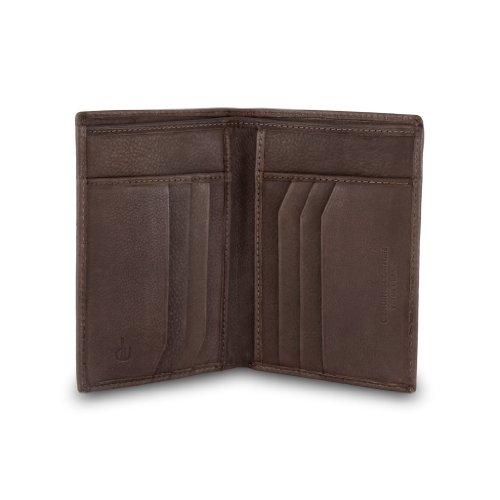 DV Portafoglio a libro da uomo di pelle porta carte di credito Marrone scuro