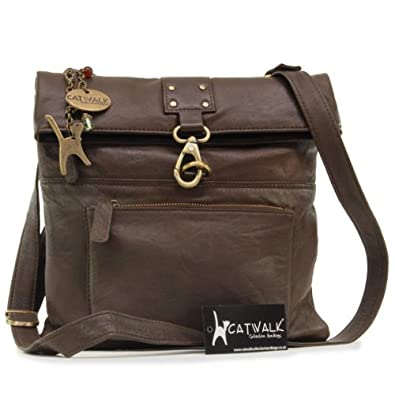 Catwalk Collection Leather Cross-Body Bag - Dispatch - Brown