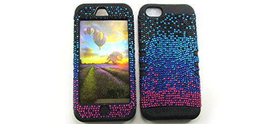 Shockproof Hybrid Rhinestone Cell Phone Cover Protector Faceplate Hard Case And Black Skin With Mini Stylus Pen. Kool Kase Rocker For Apple Iphone 5C Black Blue Pink Bk-Fd173