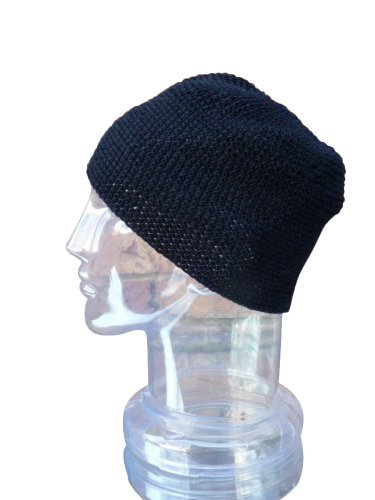 Inspirit Arts Large Size Skull Cap Beanie, Solid Black Hand Made 100% Cotton,... front-491874