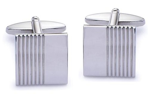 Code Red Base Metal Rhodium Plated Square Cufflinks Half Grooved and Half Plain
