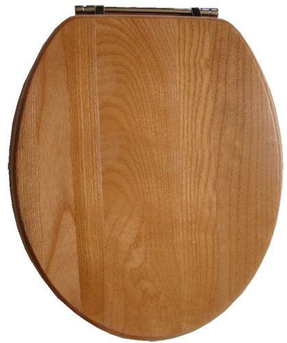 New Improved Quality Real Solid Beech Oak Wood Wooden Bathroom Toilet Seat With Chrome Finish Hinge