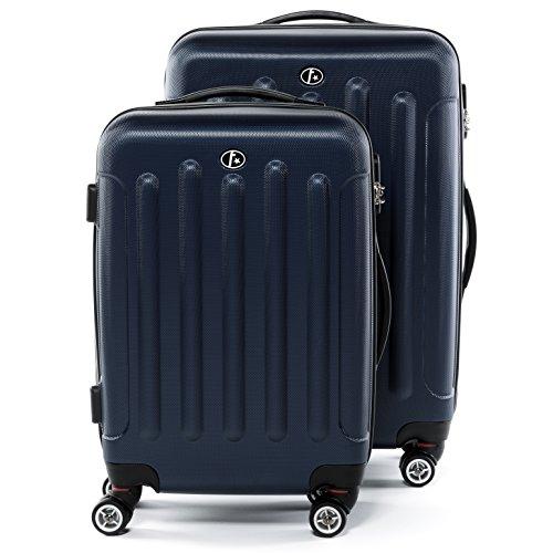 "FERGÉ Set di due valigie LYON - Due valigie rigide - due pz. valigie da 20"" e 24"" con 4 ruote (360) ABS bluscuro"