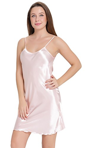 Aibrou Sexy Nightshirts Satin Spaghetti Strap Chemises Slip Nightgown Sleepwear,Pink,Medium