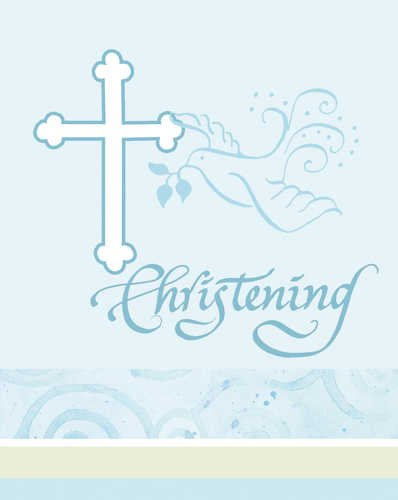 Creative Converting Blue Faithful Dove Invitations, Christening, 8 Count - 1