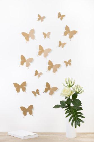 bilderdepot24-farfalle-3d-marrone-chiaro-set-di-15-pezzi-con-punti-biadesivi-inclusi-qualita-100-mad