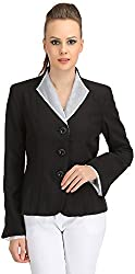 Ozel Studio Women's Regular Fit Blazer (BLZ-01_XX-Large, Black and White, XX-Large)