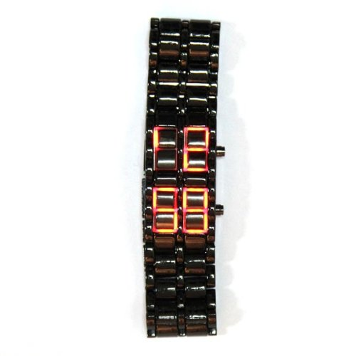 Black Steel Faceless Digital Watch w/ Red LCD Time Display