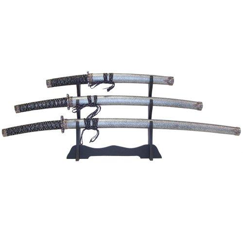 Whetstone Cutlery 3 Pc Heavy Katana Super Set, Black