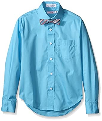 Izod big boys 39 long sleeve solid shirt and bowtie set for Izod big and tall essential solid shirt