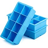 [3-Pack] California Home Goods Premium Large Ice Cube Tray Silicone ● 2 Inch Big Ice Cubes For Keeping Your Whiskey / Drinks Chilled and Classy ● Lifetime Guarantee