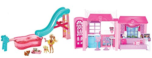 Mattel clc31 barbie casa glam piu piscina dei cuccioli for Piscina di barbie