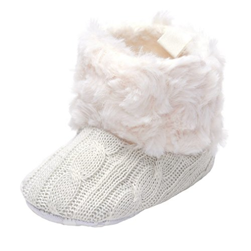 Annnowl Baby Girls Knit Soft Fur Winter Warm Snow Boots Crib Shoes (6-12 Months, White)