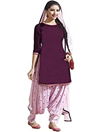 Kiteshop Women's Purple And White Patiyala Suit (Purple And White_KS1020-104a)