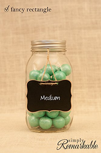 4 Beautiful Chalkboard Tags for Wedding Gifts, Food Marker, Entertaining, Table Numbers (Fancy Rectangle) - 1