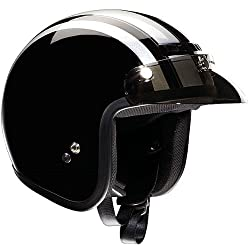 Z1R Retro Adult Jimmy Harley Cruiser Motorcycle Helmet - Black/Silver