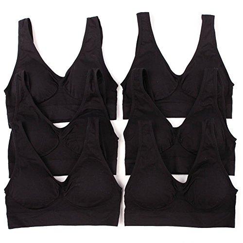 Sofra Women's 6 Pack of Seamless Padded Sports Bras-All Black