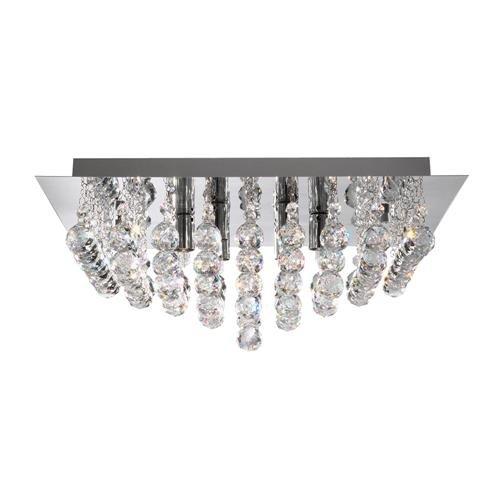 Searchlight 6408–8CC Hanna poliert chrom 8Lampe Semi Flush quadratisch Deckenleuchte mit Cascading Kristall Kugeln