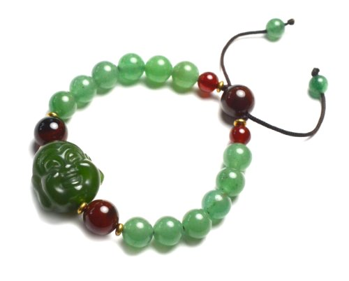 Live in Joy Cute Happy Buddha Green Jade Amulet Bracelet, Decorative Carnelian Beads Abd Copper, 6-10 Inches Stretchable – Fortune Jade Jewelry