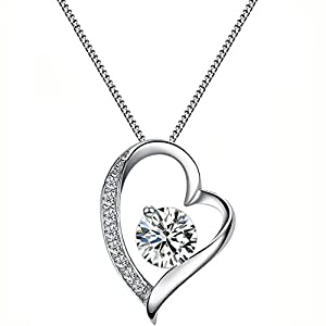 FLORAY Ladies White Heart Shaped Pendant Necklace, Sparkling Zircon, Sterling Silver Chain. Free Blue Gift Box, Beautiful Gift for Boys or Girls. Chain Length: 45 cm, Pendant Size:1.5 * 2 cm