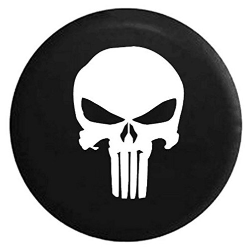 E-cowlboy Black Spare Tire Cover with Punisher Skull Logo For Jeep Liberty Cherokee Wrangler YJ TJ JK JKU Sports Sahara Freedom Rubicon X & Unlimited X 2/4 door 1995-2016 (R17) (Skull Jeep Spare Tire Cover compare prices)