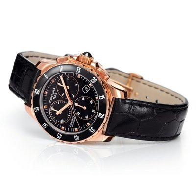 Certina Women's Quartz Watch with Black Dial Chronograph Display and Black Leather Strap C014,217,36,051,00 XS