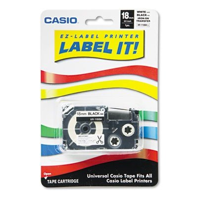 Casio - Label Printer Iron-On Transfer Tape, 18mm, Black on White