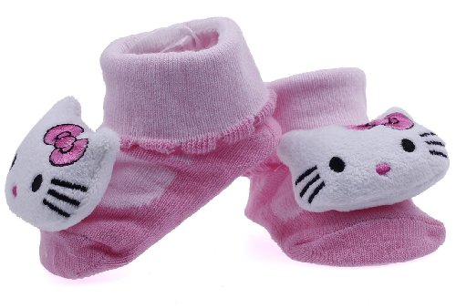 Eozy Cute Hello Kitty Newborn Baby Unisex Indoor Anti-slip Warm Socks Animal Knitting Cartoon Crib Shoes Boots Booties
